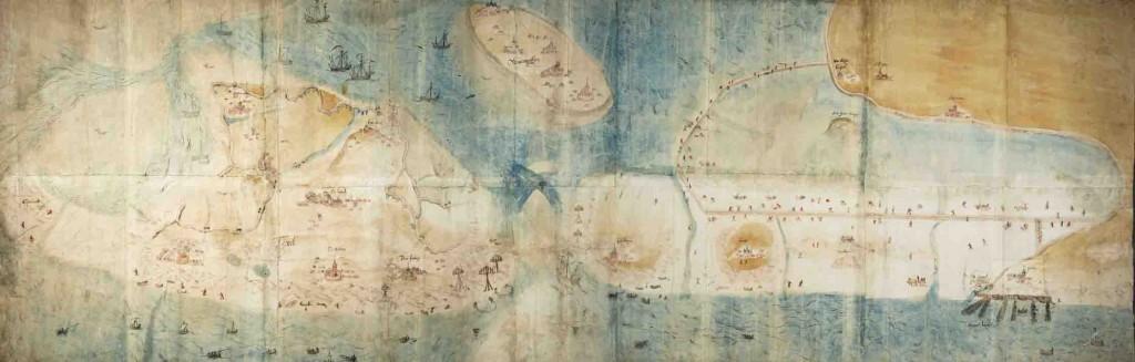 Schets door Jan van Scorel van het te bedijken gebied (veel groter dan de Zijpe)