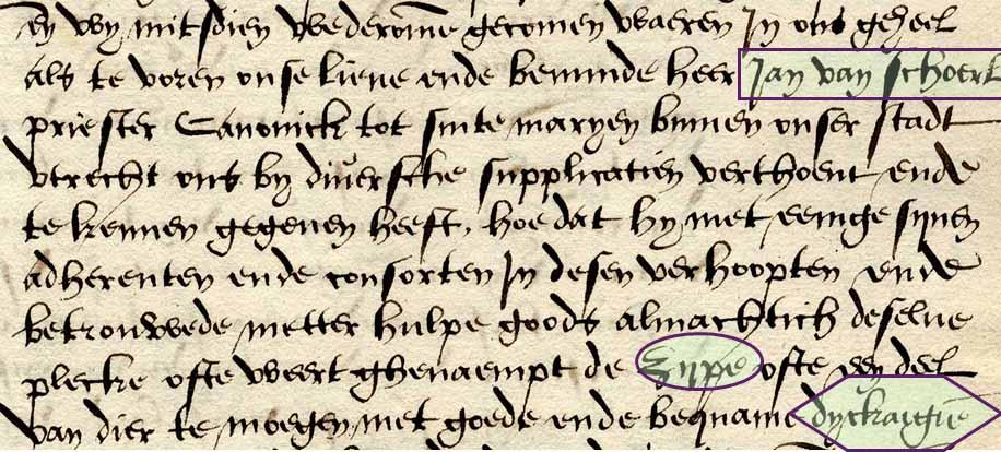 Octrooi van Karel V aan Jan van Scorel. Gemarkeerd zijn de teksten Jan van Scorel, Zijpe en dijckagie (=bedijking).